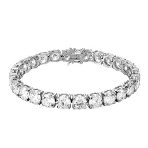 Master Of Bling 8MM Solitaire One Row Tennis Bracelet Simulated Diamonds Silver Finish