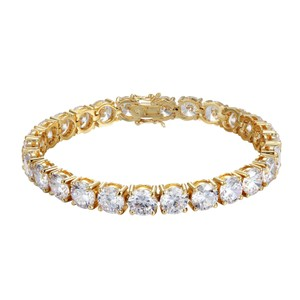Master Of Bling 8MM Solitaire One Row Tennis Bracelet White Simulated Diamonds Unisex