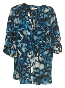 Calvin Klein Pattern Blouse Hues Button Down Shirt blues
