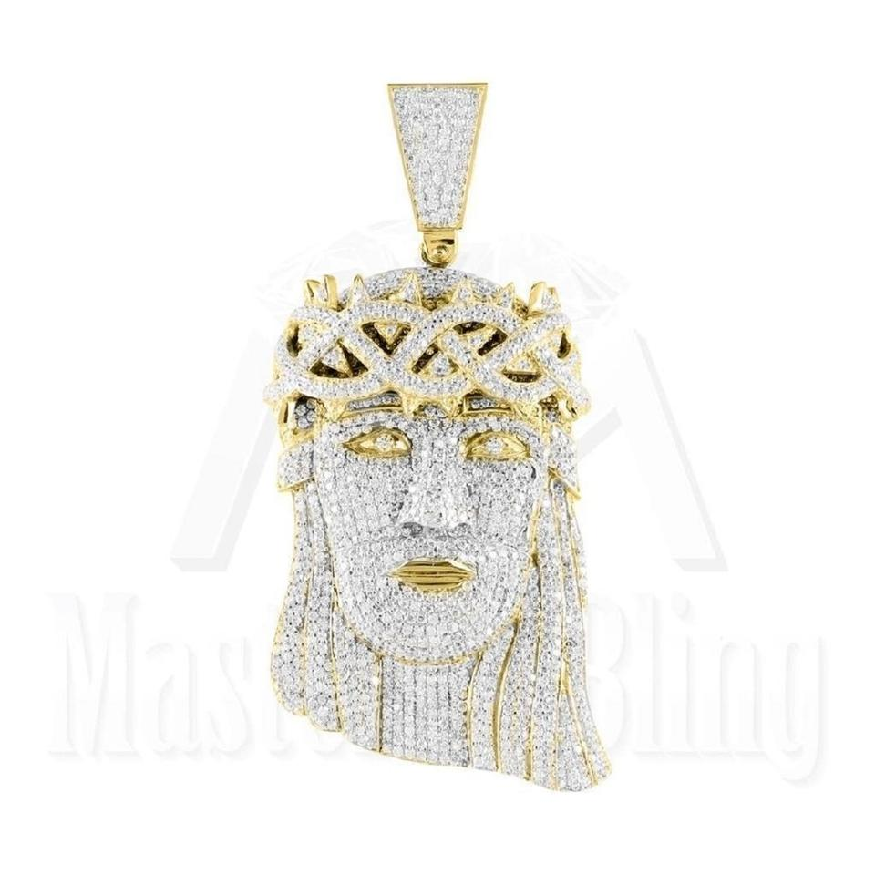 Master of bling silver designer jesus iced out pendant 14k gold master of bling designer jesus iced out pendant 14k gold finish over sterling silver mozeypictures Image collections