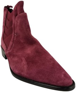 Rebecca Minkoff Suede Leather Pointed Toe Ankle Maroon Boots