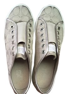 169ef2cee42 Coach Signature Metallic Metallic Hardware Comfortable Silver and white  Flats
