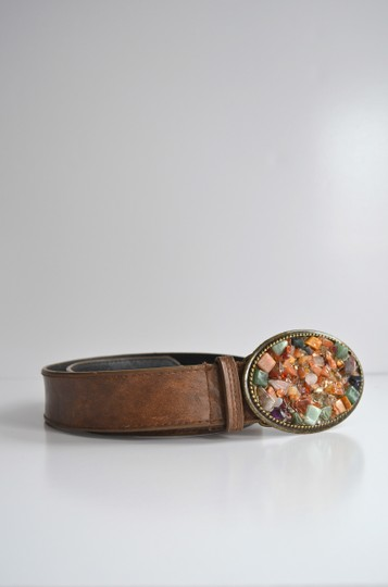 Bloomingdale's Rustic Stone Buckle Belt - Size Small