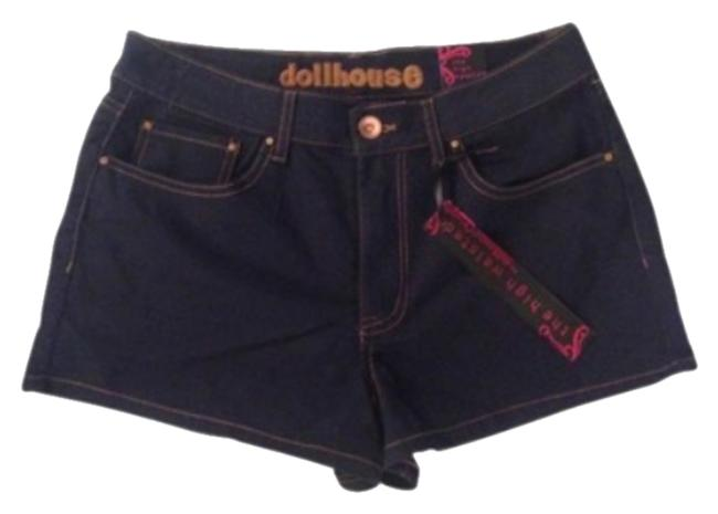 Dollhouse Mini/Short Shorts Navy with Gold Stitching