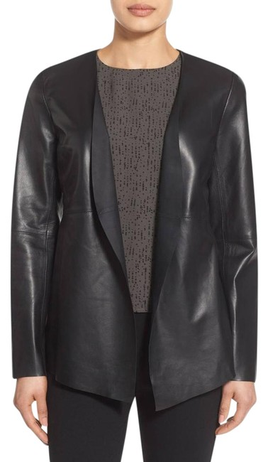 "Eileen Fisher Black S ""Draped Lambskin Angle Leather Jacket Size 6 (S) Eileen Fisher Black S ""Draped Lambskin Angle Leather Jacket Size 6 (S) Image 1"