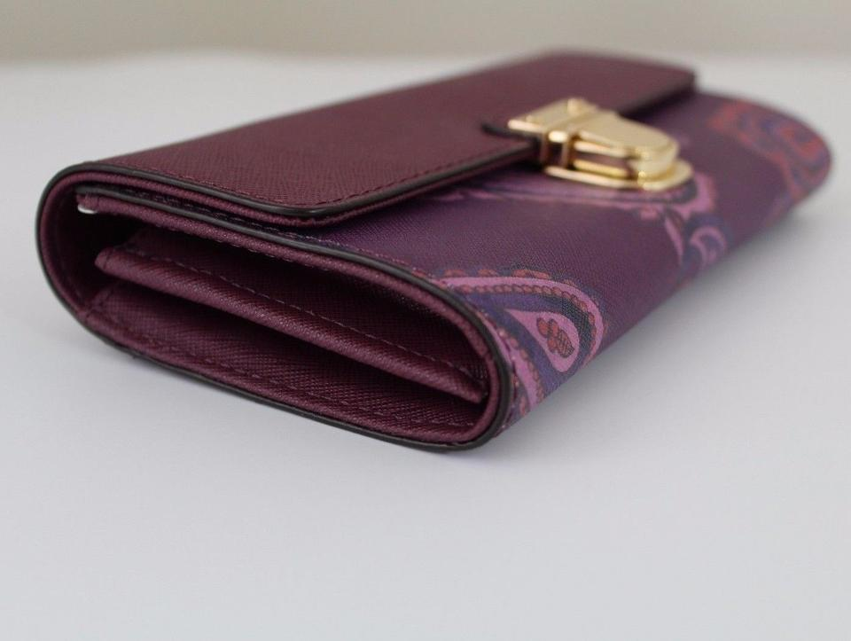186f97aaf43d Michael Kors Michael Kors Bridgette Flap Leather Wallet Plum/Paisley Image  7. 12345678