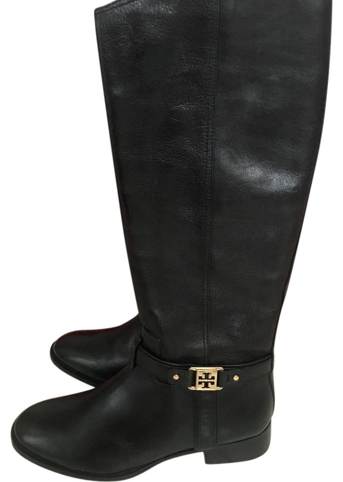 02d609f8266a Tory Burch Black Riding Gold Logo Boots/Booties Size US 10.5 Regular ...