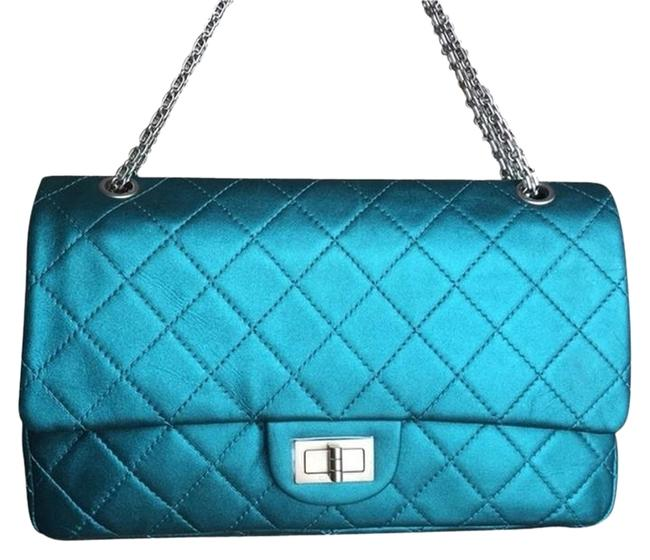 Chanel 2.55 Reissue Jumbo Turquoise with Silver Hardware Lambskin Shoulder Bag Chanel 2.55 Reissue Jumbo Turquoise with Silver Hardware Lambskin Shoulder Bag Image 1