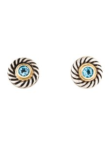 David Yurman David Yurman Sterling Silver 14K Gold Blue Topaz Cookie Stud Earrings
