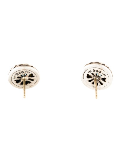 David Yurman David Yurman Sterling Silver 14K Gold Blue Topaz Cookie Stud Earrings Image 2