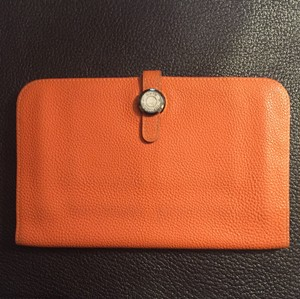 Hermès Authentic Hermes Dogon Orange Leather Wallet