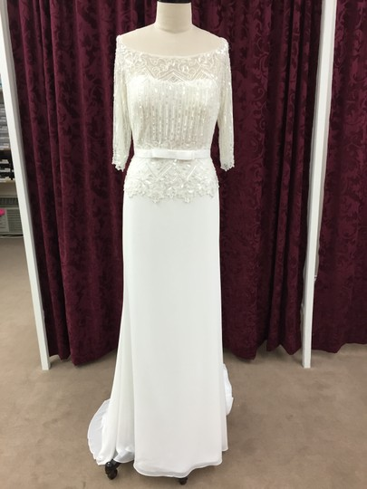 Pronovias Off White Chiffon Laima Traditional Wedding Dress Size 8 (M)