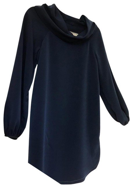 Item - Navy Blue Silk By Social (Orig Mid-length Cocktail Dress Size 4 (S)