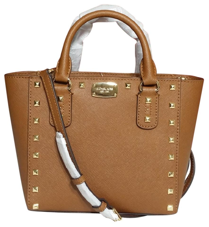 8e3cb3714fbf Michael Kors Mk Sandrine Stud Saffiano Leather Sienna 35s7gd1c1l Cross Body  Bag Image 0 ...