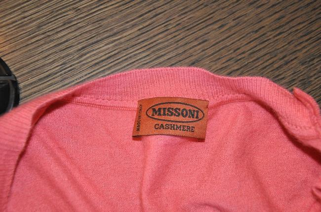 Missoni Cashmere Ribbon Tie V Neck Sweater Top Pink