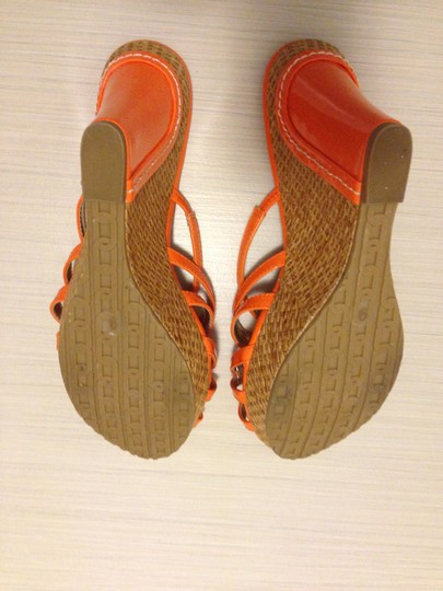 Charles David Patent Leather Woven Strappy Orange Wedges