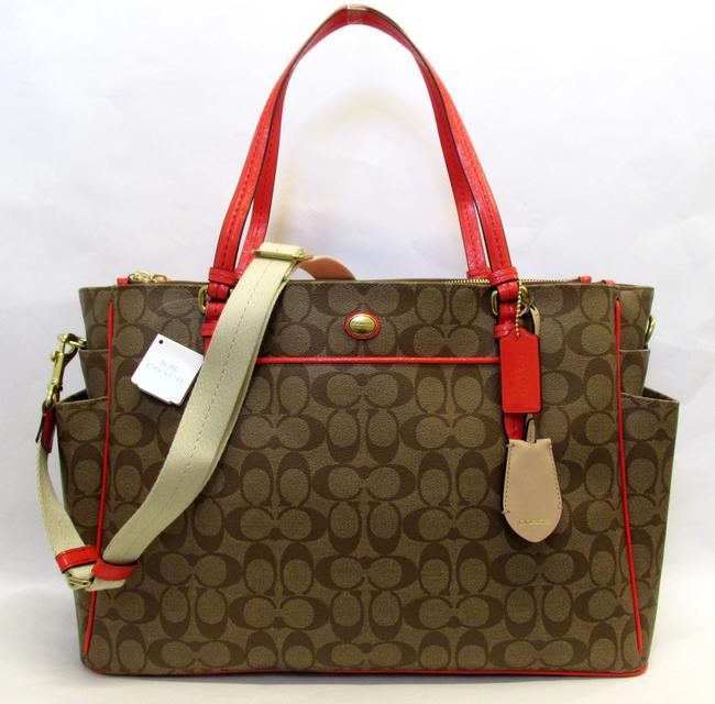 Item - Peyton Multifuct F25741 Khaki & Persimmon Signature Pvc Diaper Bag