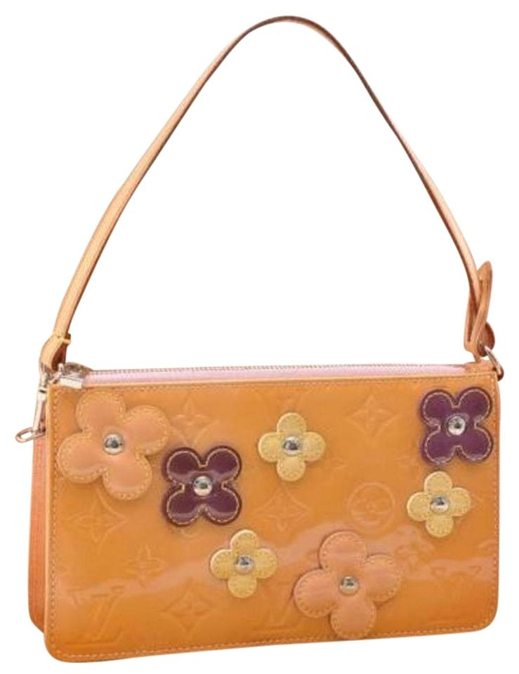 90a604f3fb68 Louis Vuitton Pochette Lexington Vernis Flower Pouch Orange Leather Clutch