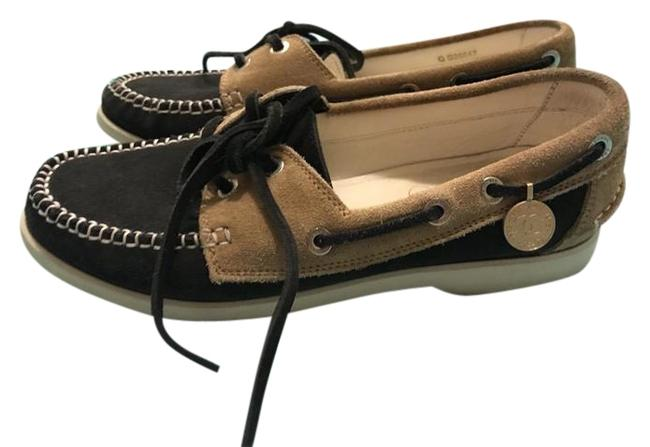 Item - Brown Navy and Beige Women's 1/2 with Gold Charms Platforms Size US 6.5 Regular (M, B)
