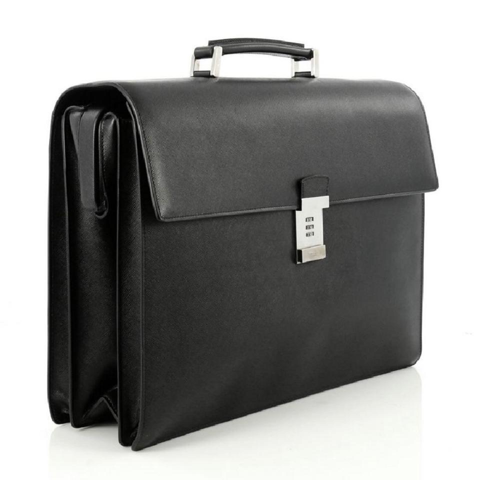 8ed0861d82e7 Prada Combination Lock Briefcase Saffiano Satchel Black Leather ...