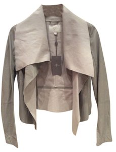 7 For All Mankind Light Grey Leather Jacket