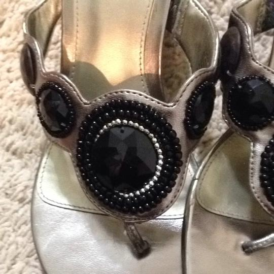 Kenneth Cole Silver And Black Wedges