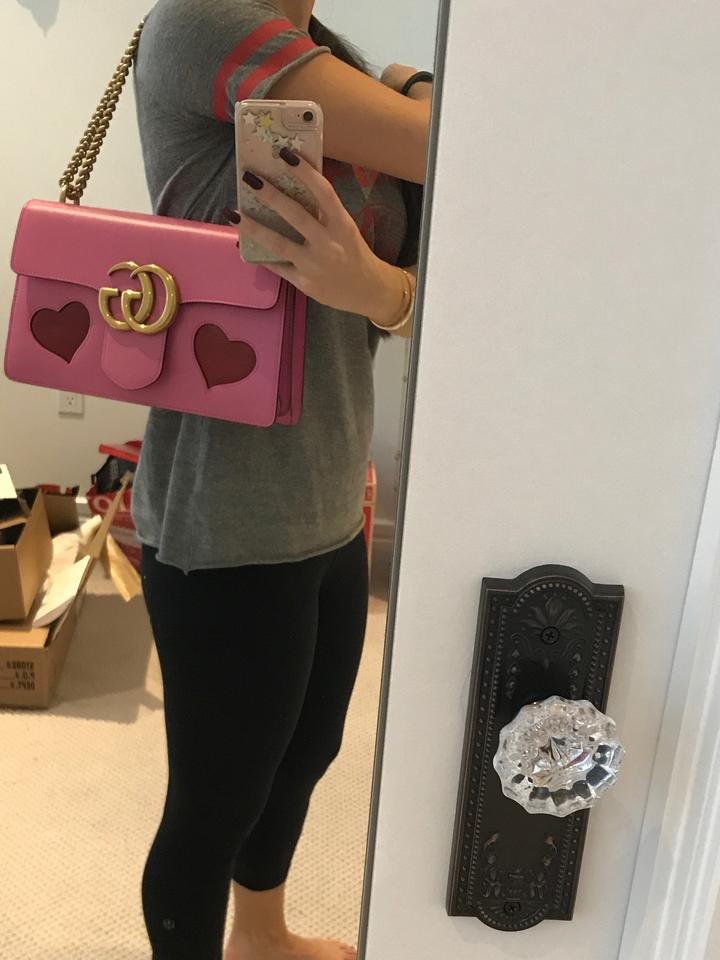 040468e2ed62 Gucci Marmont Gg Medium Heart Pink/Multi Pink Leather Shoulder Bag ...