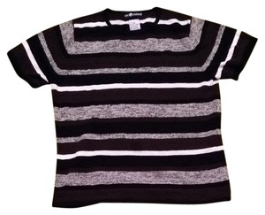 Sag Harbor Stripes Short Sleeves Sweater