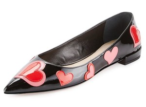 Prada Made In Italy Patent Leather Pointed Toe Heart Applique Slip-on Style Black Multi Flats
