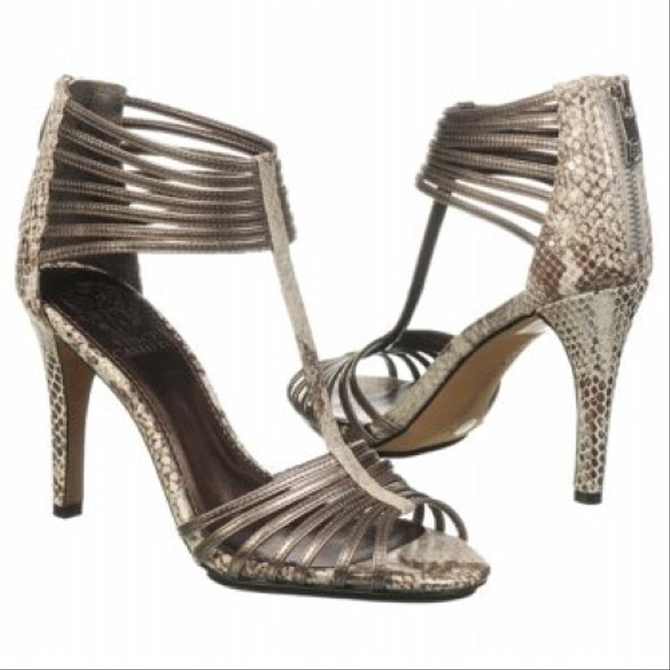 Vince Camuto Sara Snakeskin Pewter Silver Leather Heels