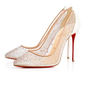 Christian Louboutin Follies Strass Stiletto Wedding Pigalle white Pumps