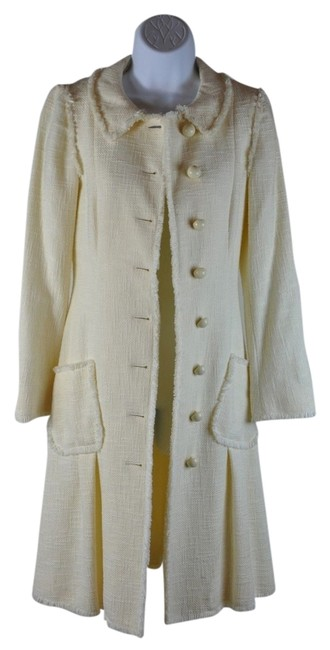 Moschino Boucle Button Bow Knee Length Size S Trench Coat