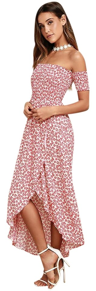 d22b3364c3ee White with Red Flowers Maxi Dress by Lucy Love Floral Off-the-shoulder  Smocked ...