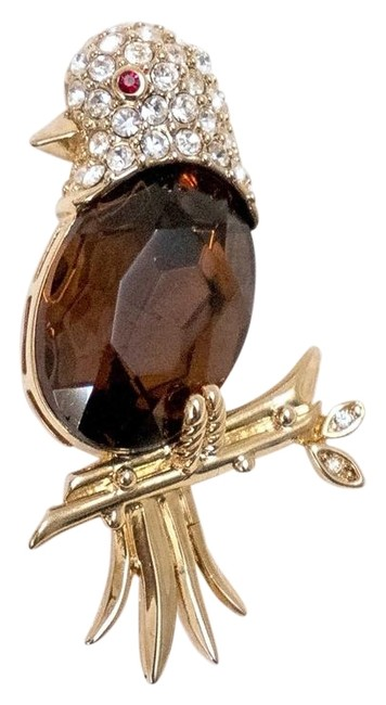 Item - Gold and Brown Box Estate Topaz Crystal Bird Fr Her Personal Jewel Rare