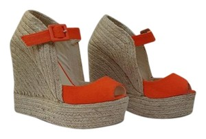 Charles Albert Espadrille Casual Summer Clubbing Orange Wedges