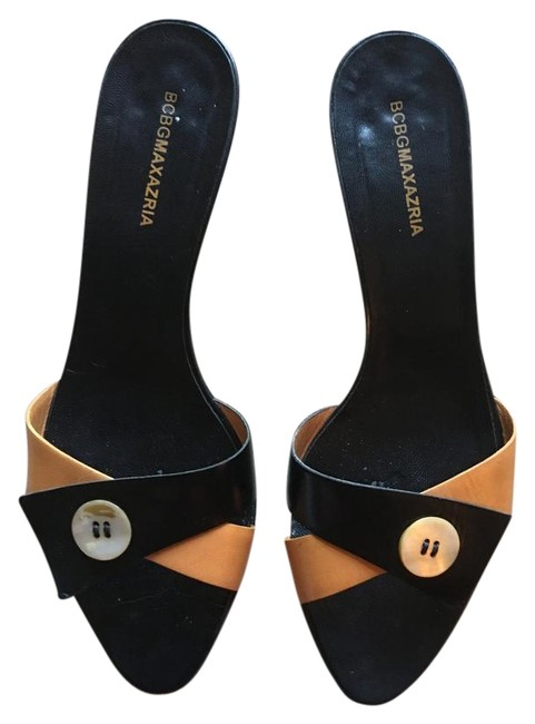Item - Black/Tan Open Toe Kitten Heel. Sandals Size EU 39 (Approx. US 9) Regular (M, B)