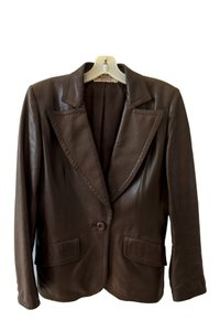Saint Laurent Leather Supple Well-made Front Pockets Brown Blazer