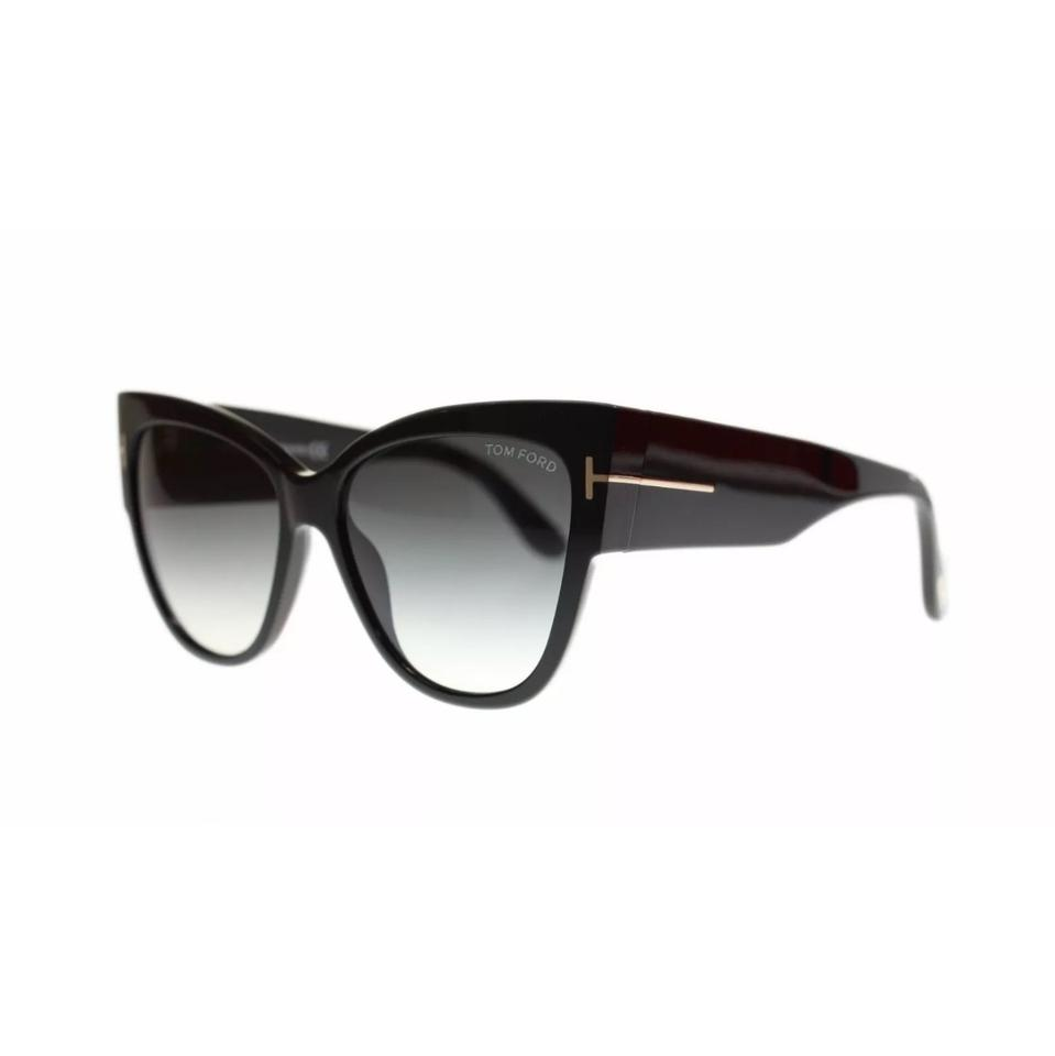 e3538011e6 Tom Ford 01b Shiny Black Smoke Gradient Cat Eye 0371 Anoushka Sunglasses