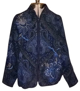 Coldwater Creek Tapestry Zipper Blue Jacket