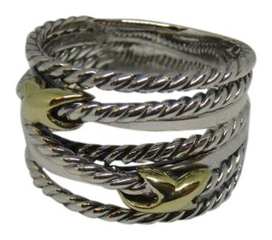 David Yurman sterling silver ring with Double Gold X size 9