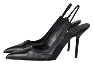 "Narciso Rodriguez Leather Pumps Slingbacks 4"" Heel Black Sandals"