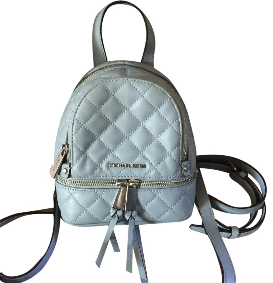 13045cfc47982d Michael Kors Rhea Quilted Mini Dusty Blue Leather Backpack - Tradesy