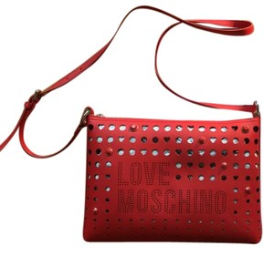 Moschino Love Perforated Red Clutch