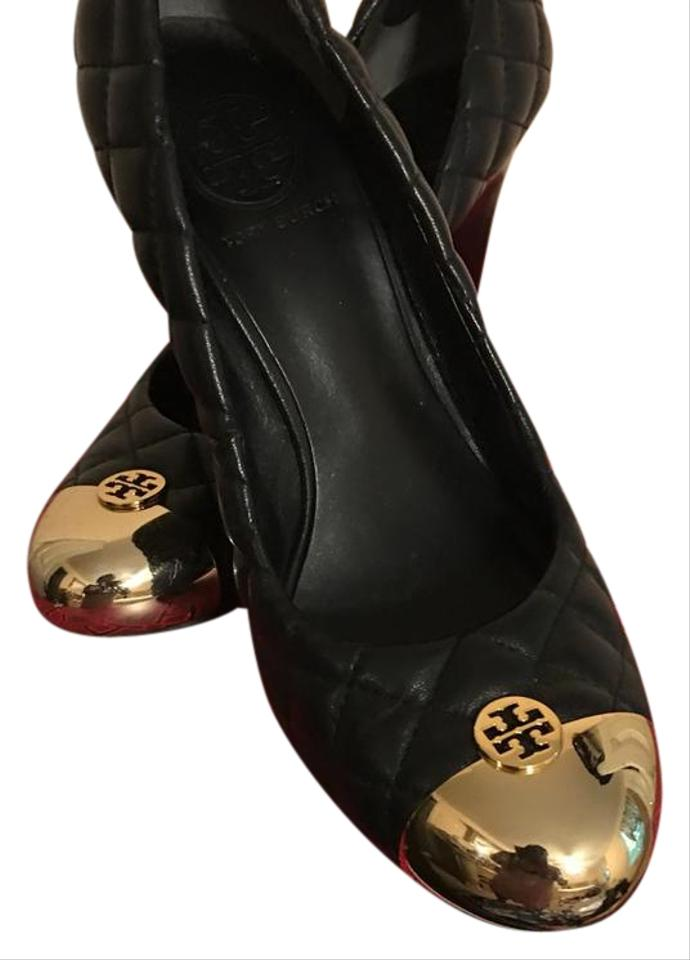 101b6ec8d7a3 Tory Burch Black Kaitlin Gold Quilted Leather Cap Toe Pumps Wedges. Size  US  8 Regular (M ...