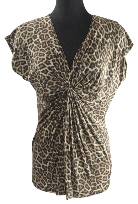 Item - Cream Leopard Front Knot Gathered Knit Shirt Blouse Size 14 (L)