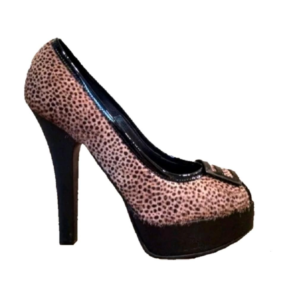 Fendi Browns Black Pump Leather Pony Animal Print Peep Toe Pump Black 39 Platforms 9fa6c9