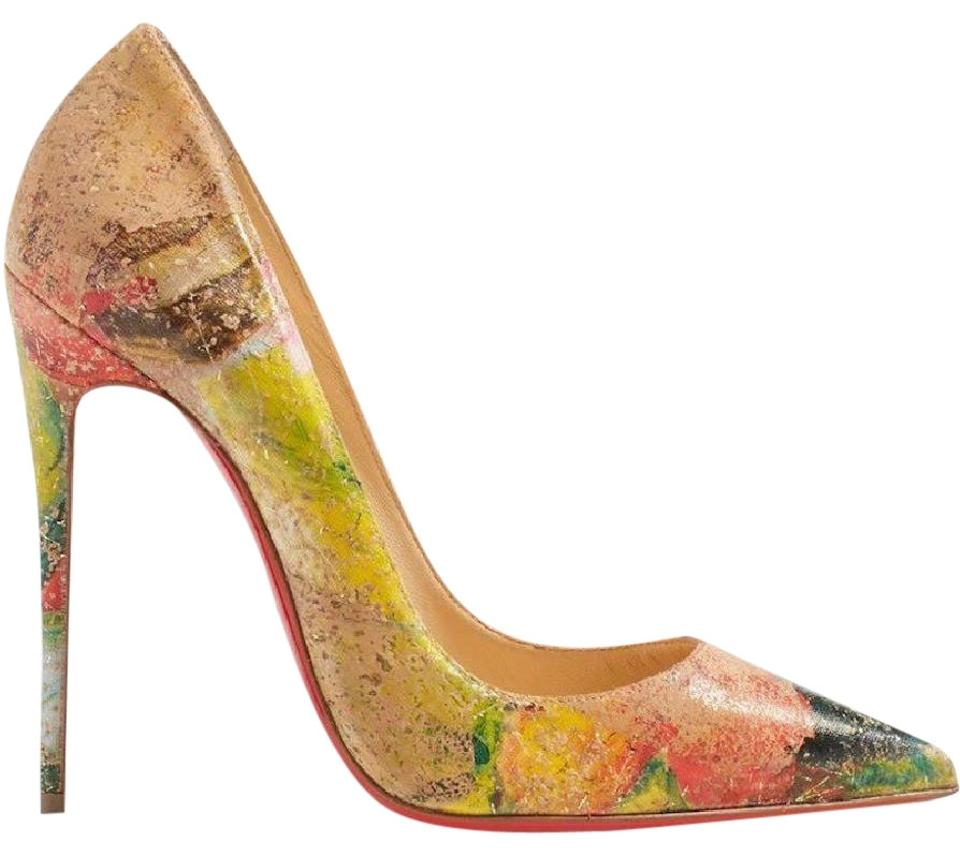 b5421c195991 Christian Louboutin Nude So Kate 120 Beige Cork Blooming Paint Stiletto  Classic Heel Pumps