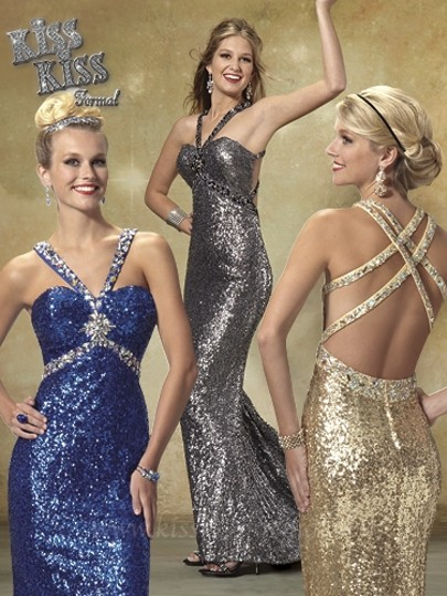 Kiss Kiss Formal Cobalt Blue Sequin P.c. Mary's Bridal P3228 Sexy Bridesmaid/Mob Dress Size 6 (S)