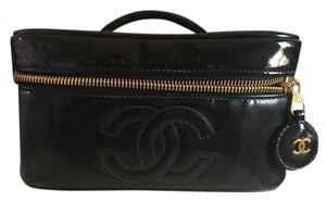 Chanel Auth. Vanity Black Patent Leather CC Charm Cosmetic Hand Bag GHW.