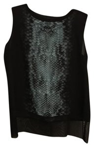 Tahari Top black and turquoise